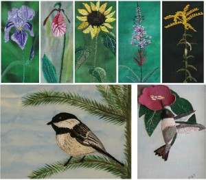 free motion embroidery flowers and birds