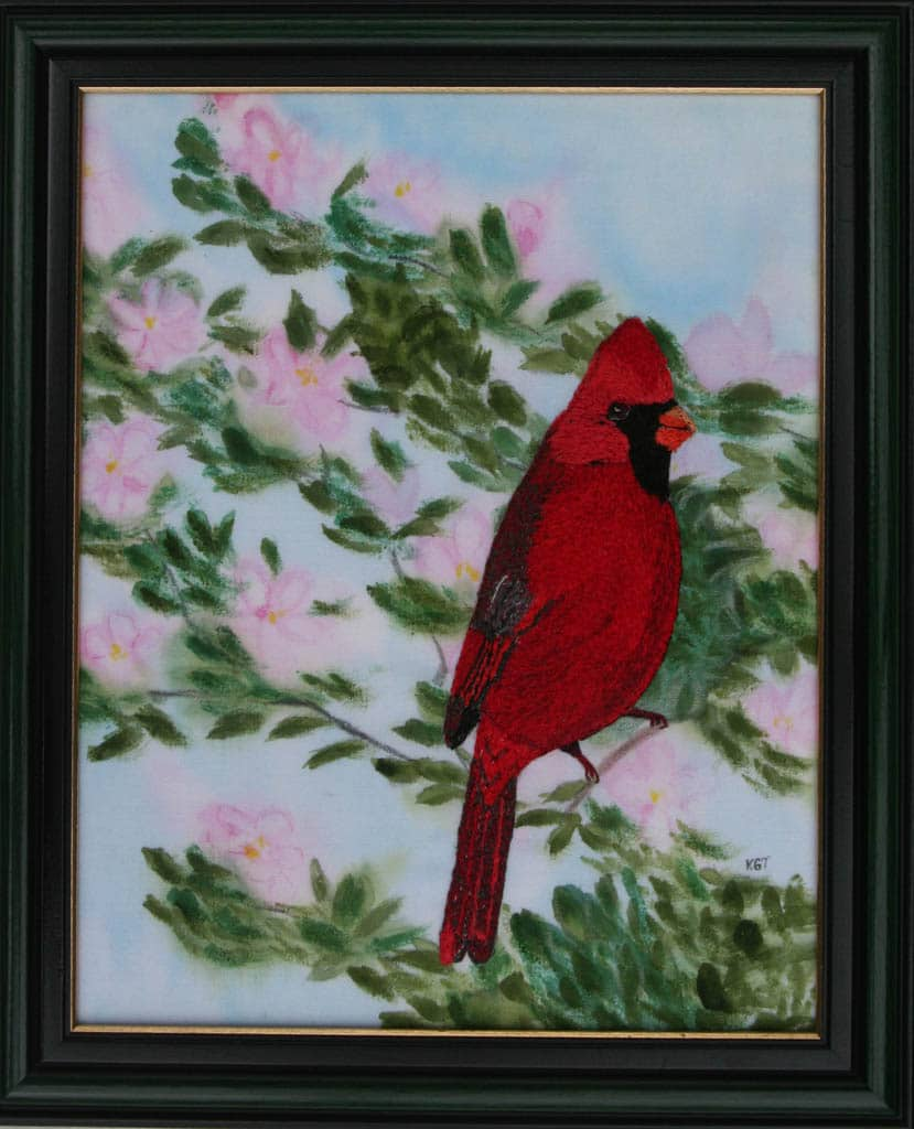 Cardinal -thread applique