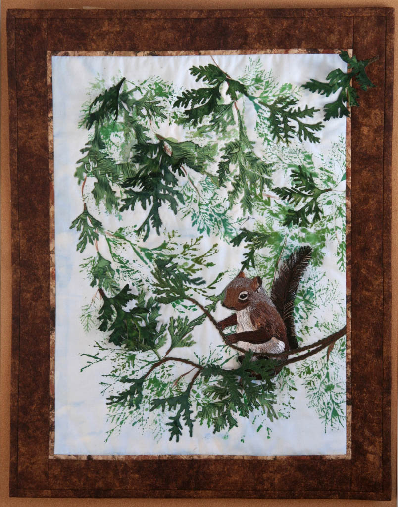 Ode to the Disappearing Squirrel-wall quilt
