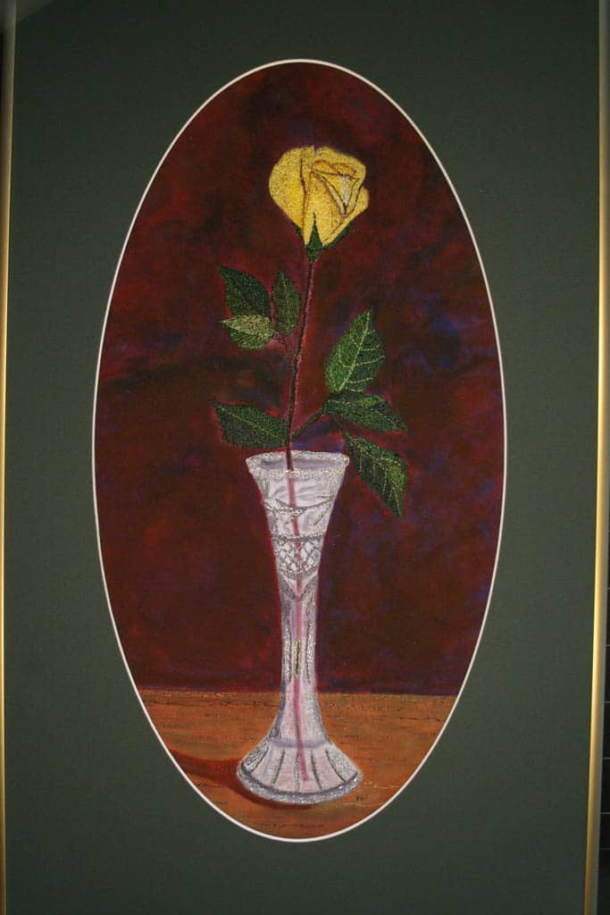 Rose in Crystal -thread painting