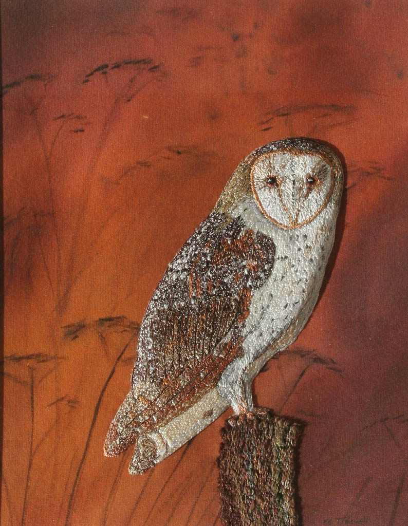 barn owl -thread applique