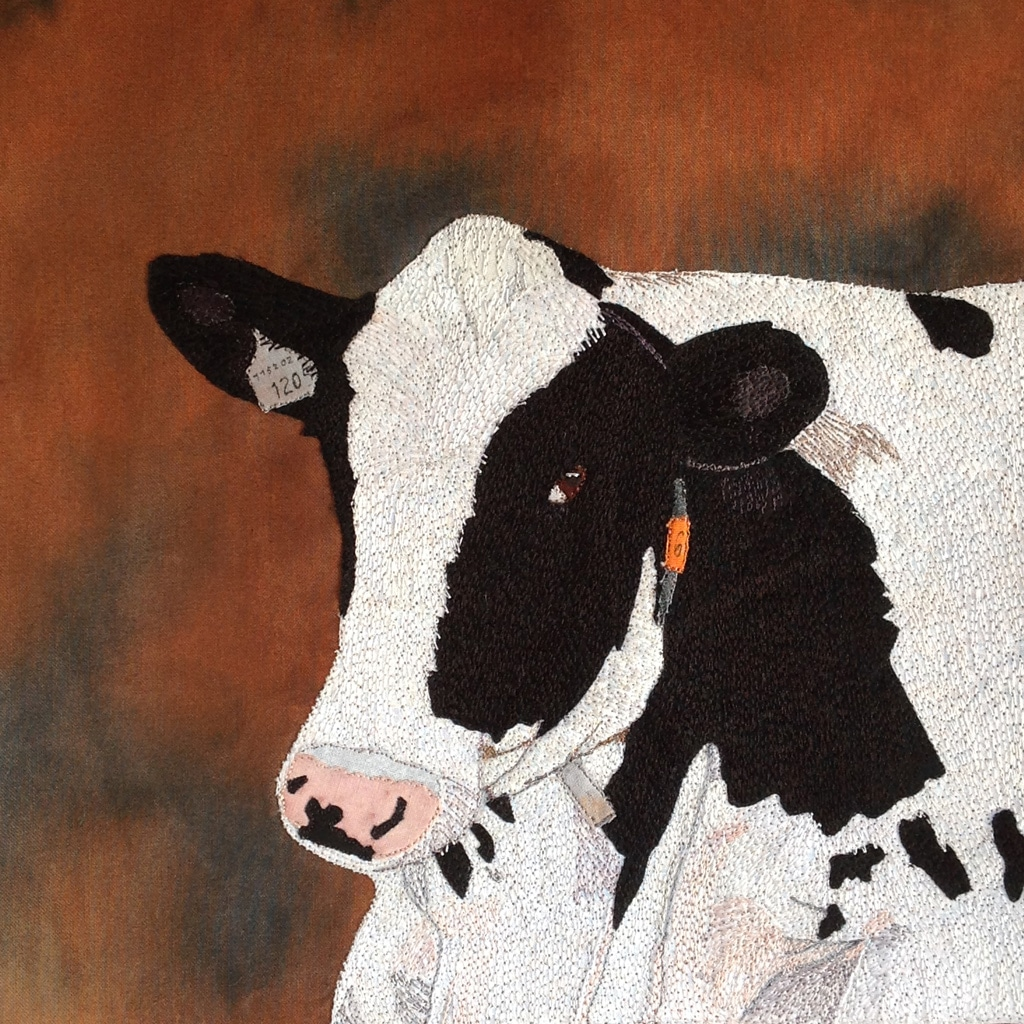 commissioned cow-thread applique