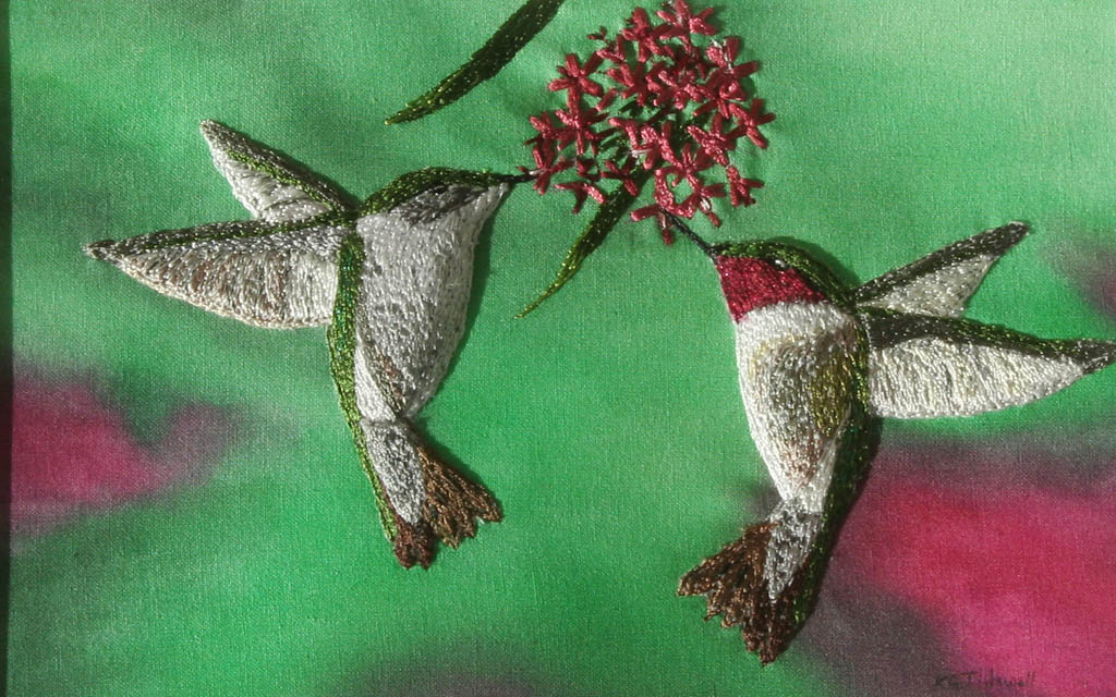 hummingbirds-thread applique1