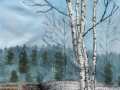 winter birch-thread painting